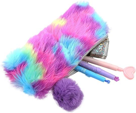 Haifly - Estuche para lápices, diseño de arcoíris con pompón: Amazon.es: Hogar