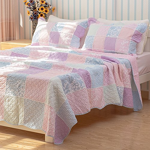 Brandream Queen Size Patchwork Quilt Set Girls Rustic Style Summer Quilts 3pcs by Brandream