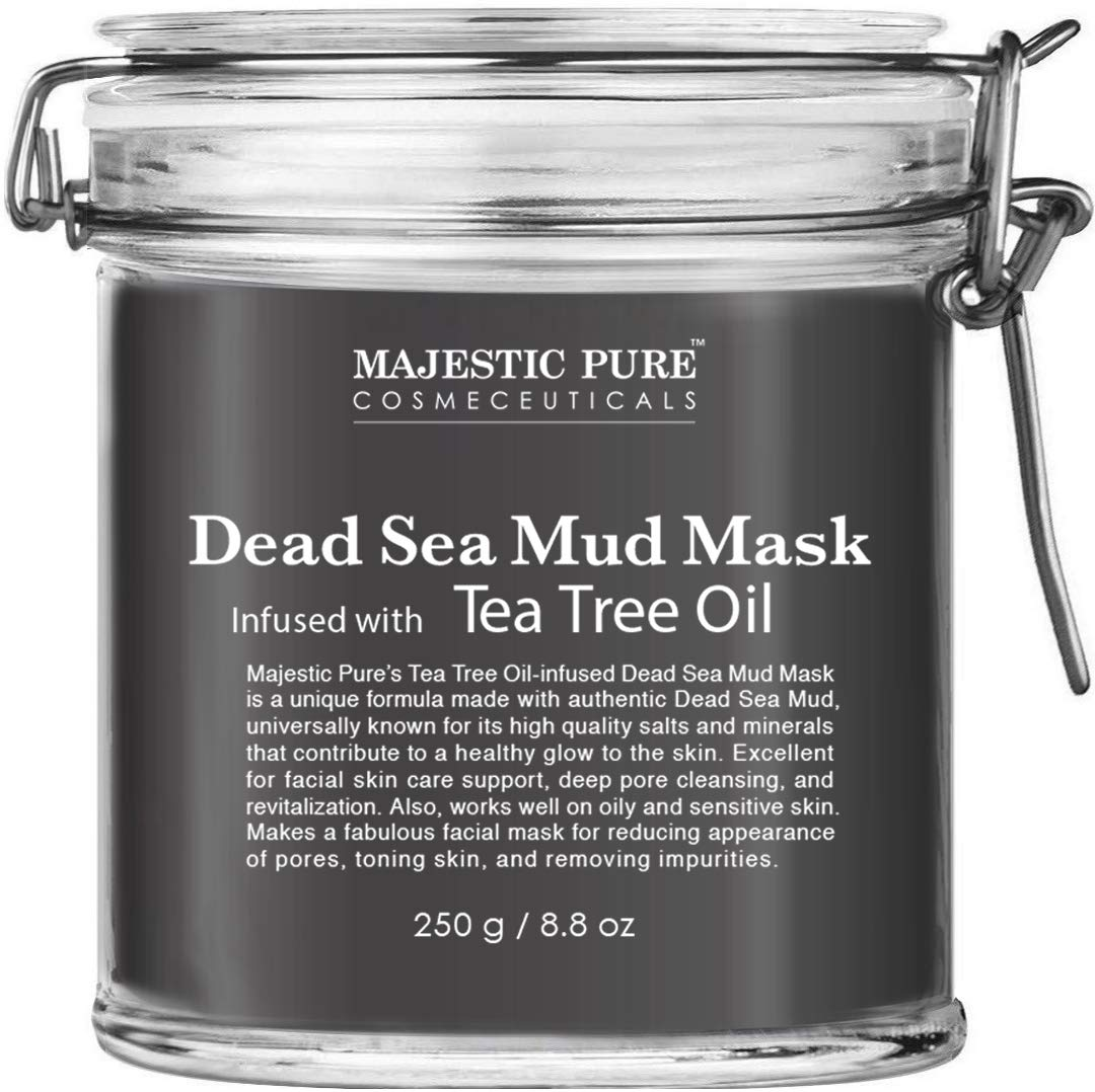 MAJESTIC PURE Dead Sea Mud Mask Infused With Tea Tree Oil - Supports Acne Prone and Oily Skin, for Women and Men - Fights Whitehead and Blackhead - Helps Reduce the Appearances of Scars - 8.8 oz by Majestic Pure