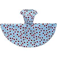 YW Cap Sleeves Polka Dot Floral 50s Style Vintage Retro Rockabilly Swing Dress Full Skirt