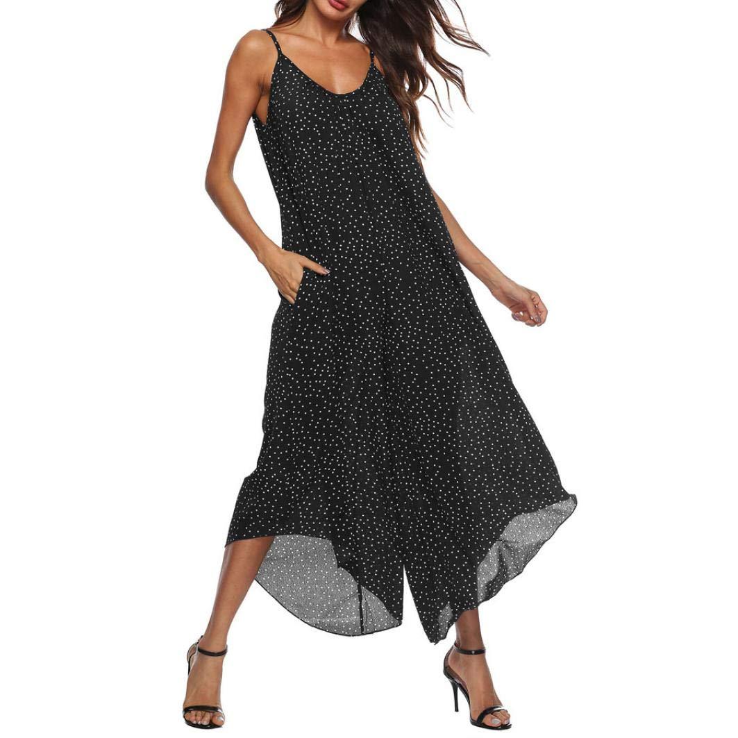 Flurries Women's V-Neck Sling Strapless Polka dot Print Jumpsuit Wide-Leg Pants (3XL, Black)