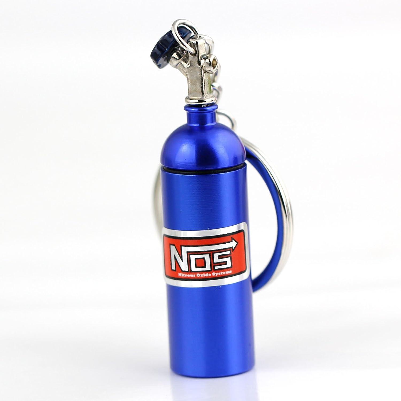 maycom Creative New NOS Mini Nitrous Oxide Bottle Keyring Key Chain Ring Keyfob Stash Pill Box Storage Turbo Keychain Silver