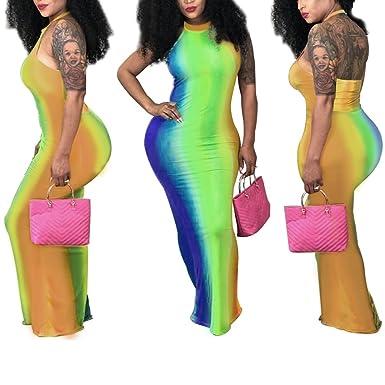 56d00c6524ae Nhicdns Women s Tie Dye Multi-Color Halter Neck Backless Long Maxi Dress  Plus Size Green
