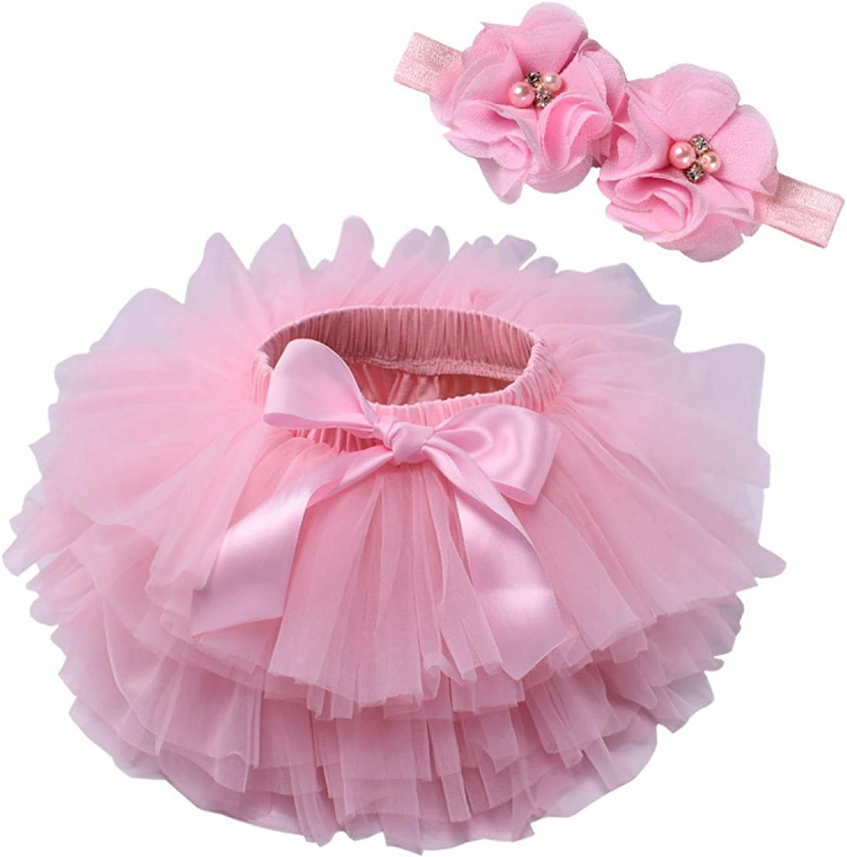 MIKI SHOP Baby Girl Tutu Skirt 2pcs Tulle lace Bloomers Diaper Cover Newborn Infant Outfits Headband Flower