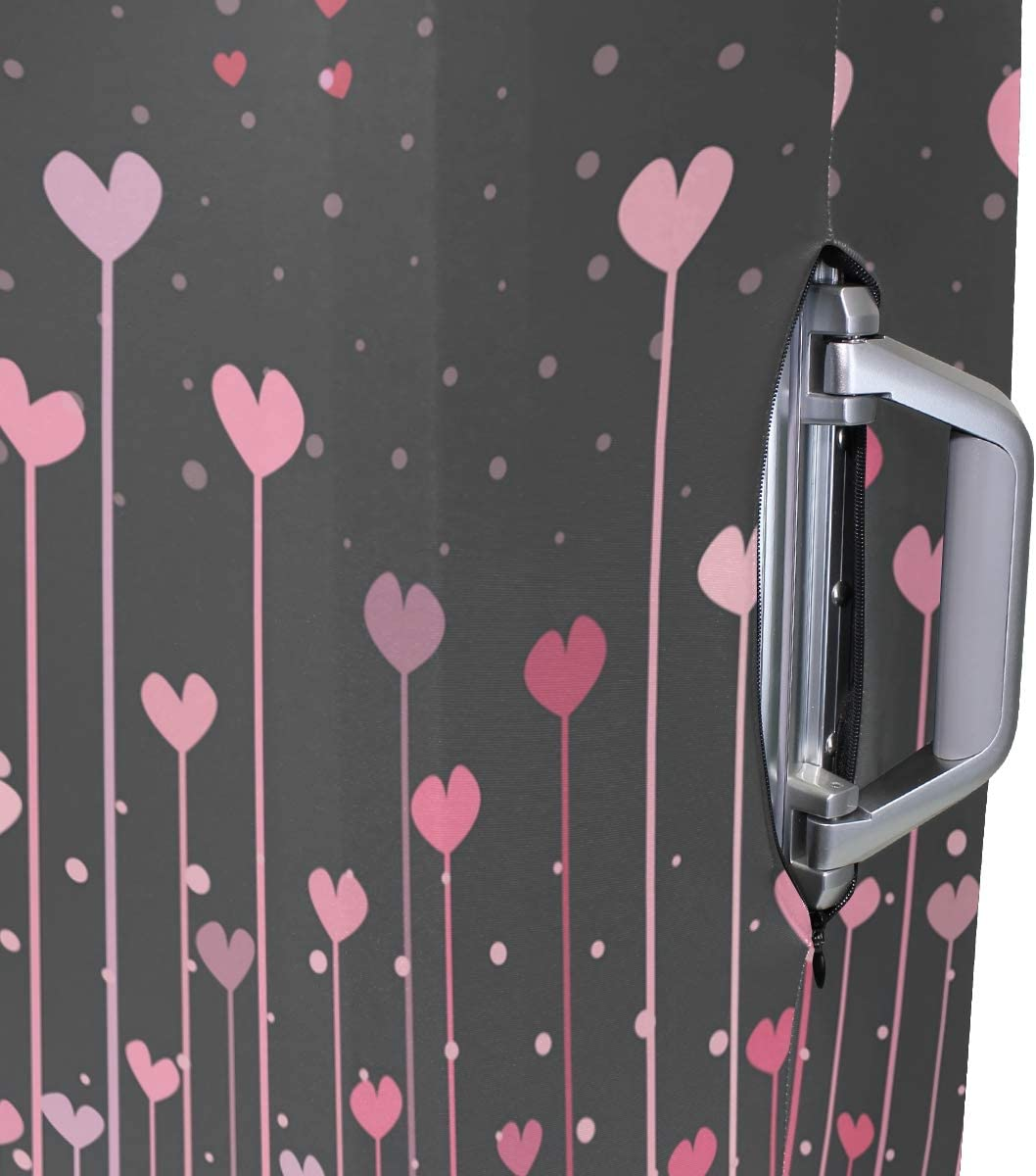 3D Pink Hearts For Valentine Print Luggage Protector Travel Luggage Cover Trolley Case Protective Cover Fits 18-32 Inch
