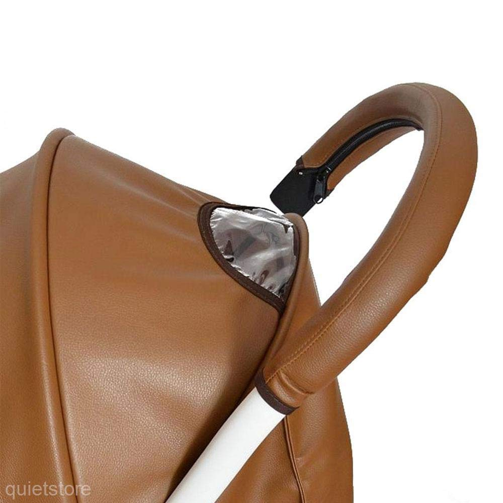 SuperglockT Pushchair Handle Cover Faux Leather Zip Handle Protection Cover Wheelchairs Baby Pram Waterproof Armrests Protective Cover Protector