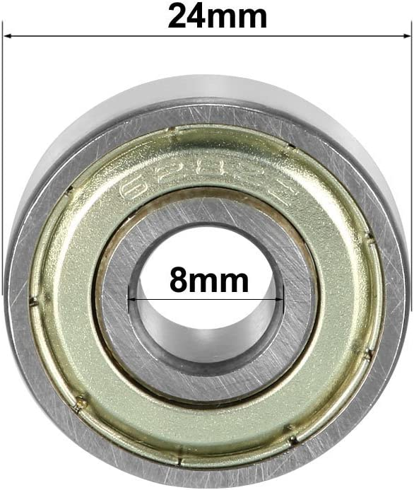 ZCHXD 628ZZ Deep Groove Ball Bearing Double Shield 628-2Z 80028 8mm x 24mm x 8mm Chrome Steel Bearings Pack of 5