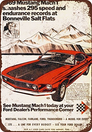 Vintage Look Reproduction 1969 Ford Mustang Metal Sign