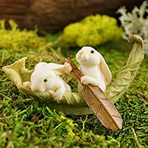 Top Collection Miniature Fairy Garden And Terrarium Statue Rabbits Rowing Leaf Boat