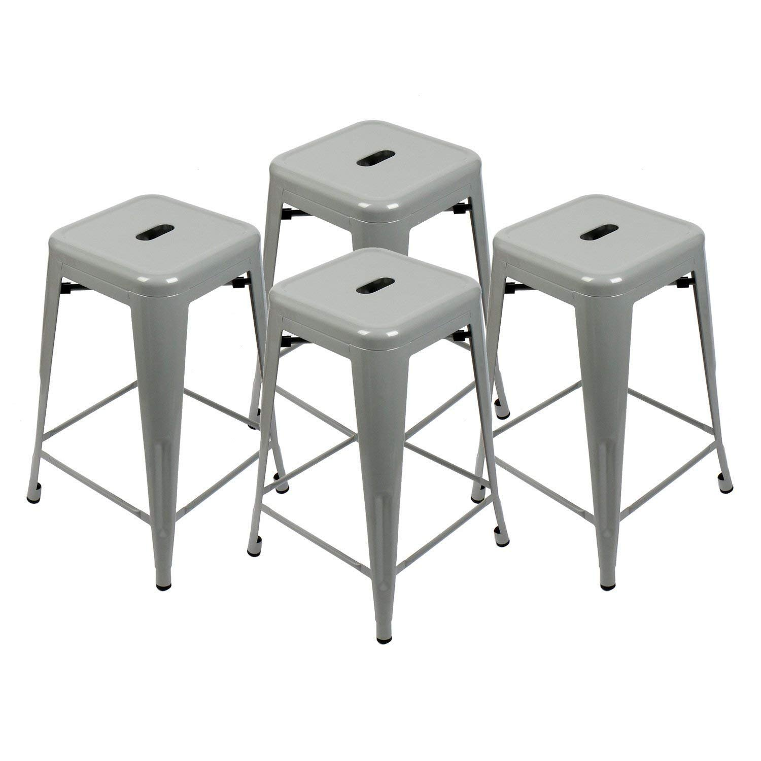 Set of 4-24'' Metal Stools High Backless Indoor-Outdoor Counter Height Stackable Bar Stools (Grey Barstool)