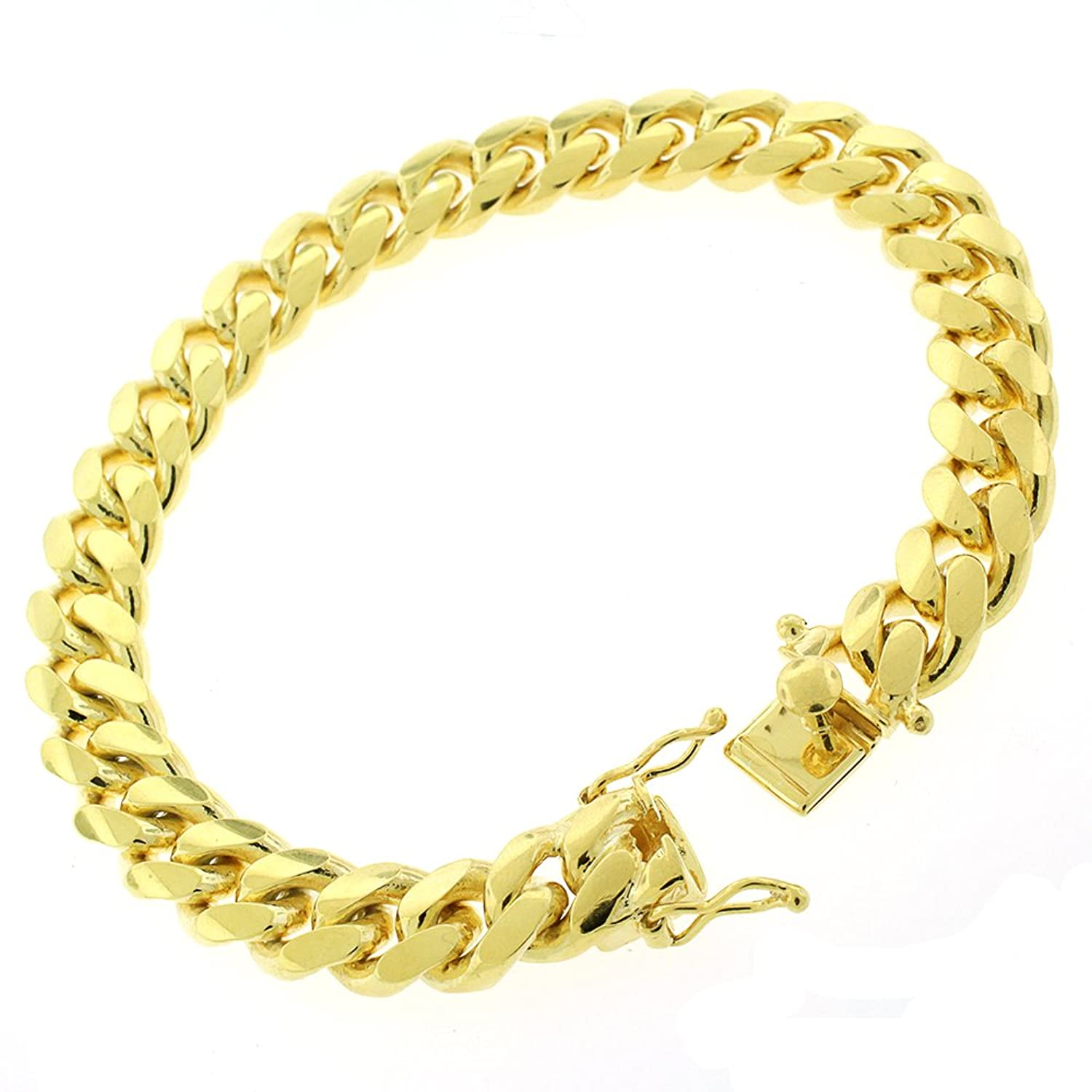 """Sterling Silver 10mm Miami Cuban Curb Link Thick Solid 925 Yellow Gold Plated Bracelet Chain 9"""""""