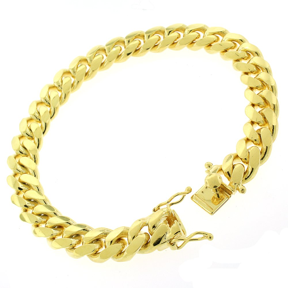 Sterling Silver 10mm Miami Cuban Curb Link Thick Solid 925 Yellow Gold Plated Bracelet Chain 9''