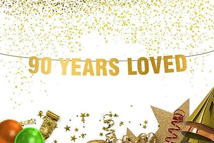 Amazon.com: Banner de 90 años de amor - Decoración de 90 ...