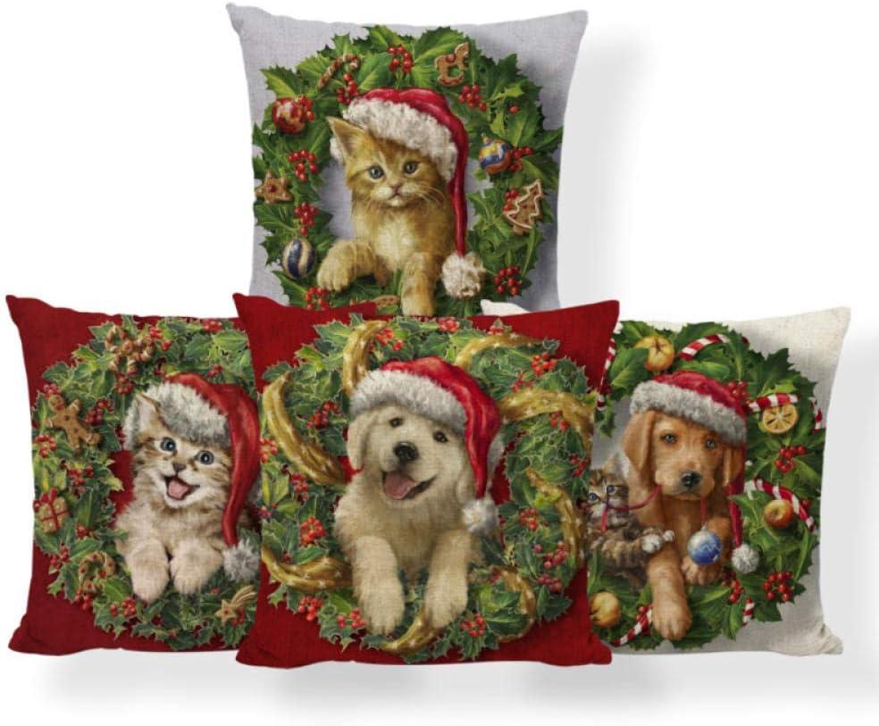 Funda de cojín Funda de almohada Juego de 4 piezas Funda de almohada de lino Santa Dog Gingerbread Man Cojín Funda de almohada de bastón de caramelo de Navidad Patchwork Nap Mat Throw Pillow 45X45Cm
