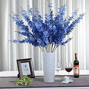 Artificial Flower 5pcs Artificial Jasminum for Home Decor without Vase & Basket, 1 Flower, Blue 36