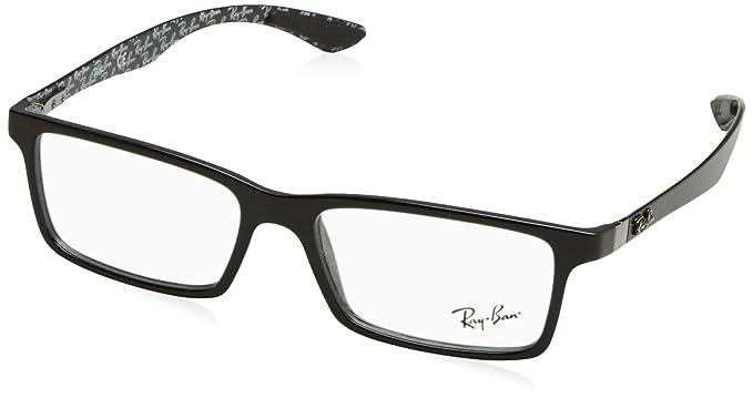 0a6488b2e435 Ray-Ban RX8901 Rectangular Eyeglass Frames, Black On Shiny Grey/Demo Lens,