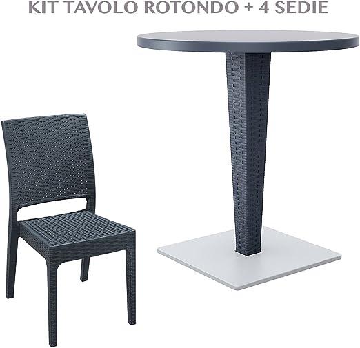 professional 882 RIVA + FLORIDA Mesa redonda con 4 sillas de jardín efecto Rattan de plástico resistente resina de exterior blanco/marrón/antracide 882 Riva + Florida, ANTRACIDE: Amazon.es: Jardín