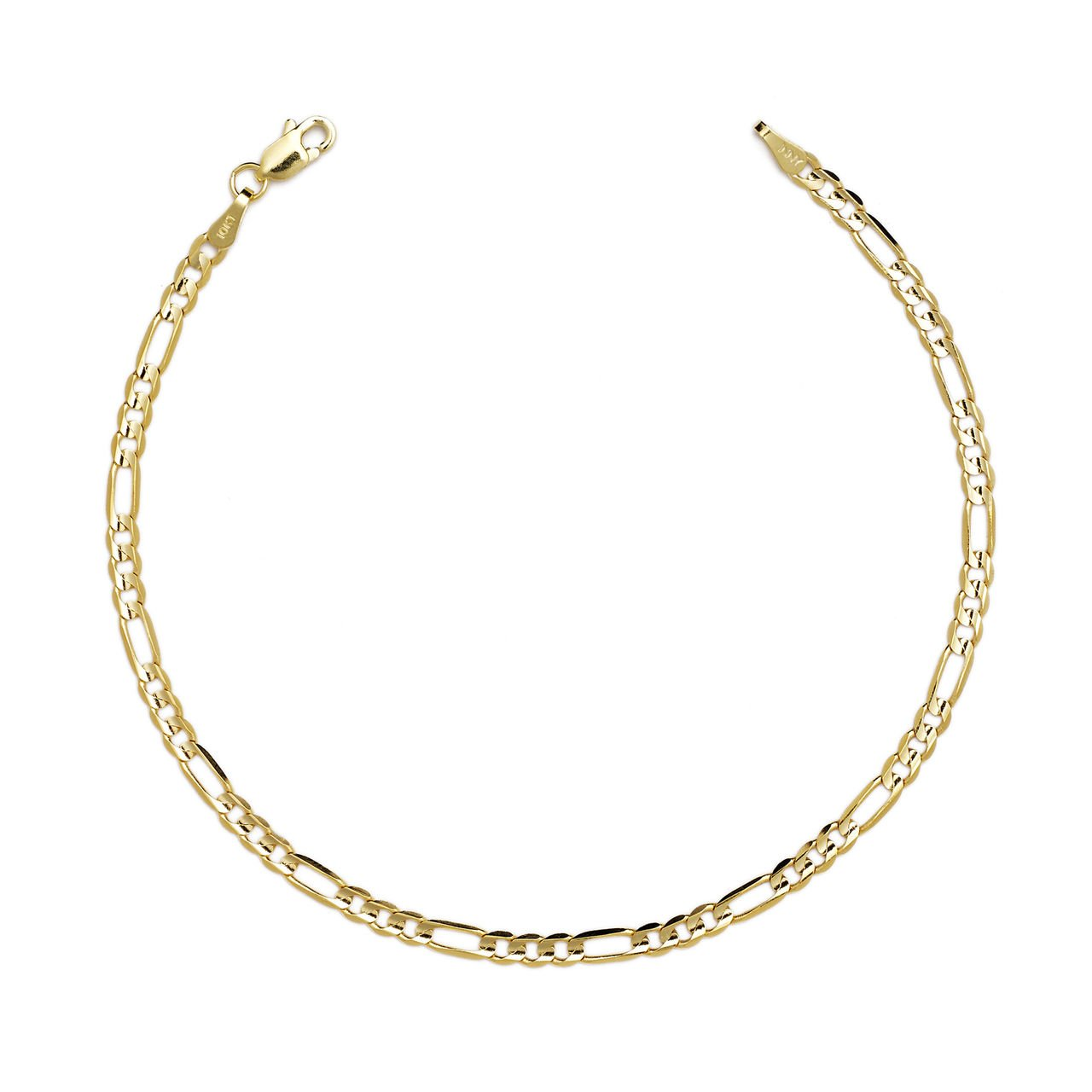 10 Inch 14k Yellow Gold Hollwo Figaro Chain Anklet, 0.13 Inch (3.2mm)