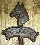 Cast Iron HORSE HEAD WELCOME Sign Garden Stake Home Decor Plaque Western Ranch by OutletBestSelling