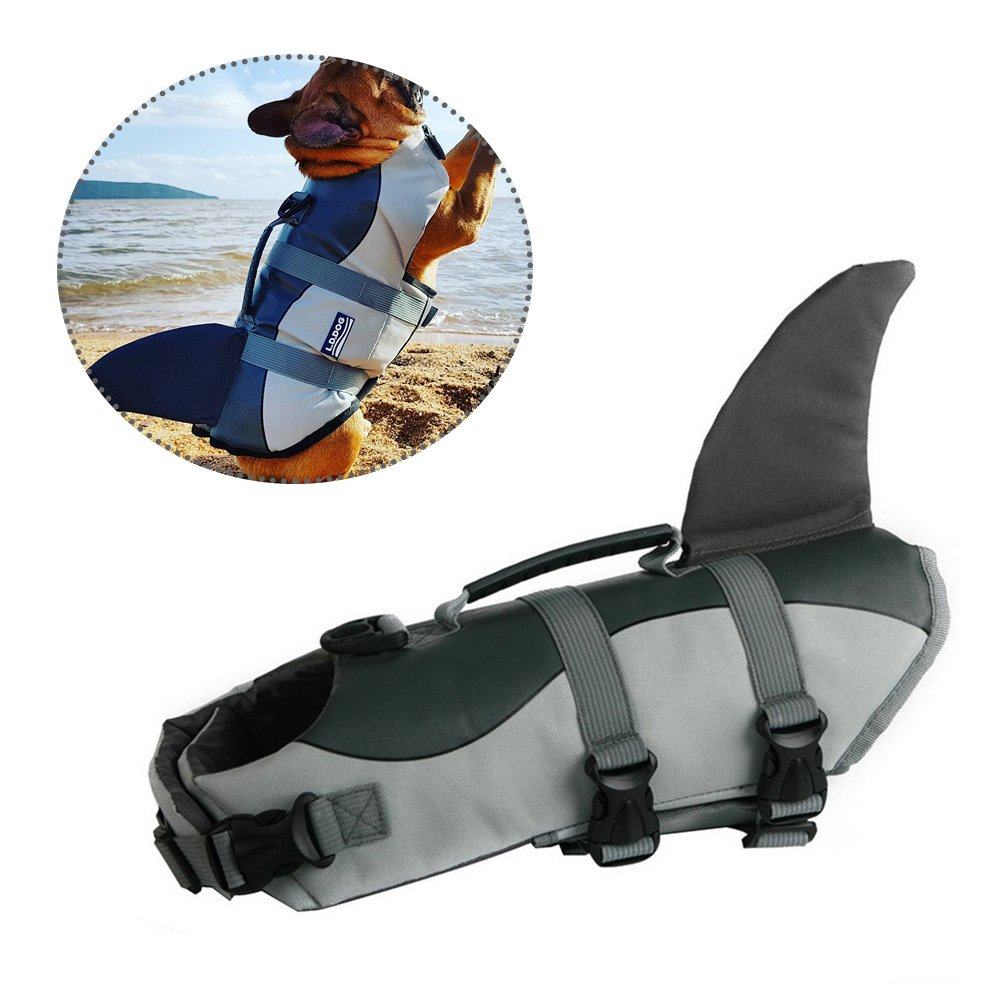 Grey M Grey M JunBo Shark Shaped Dog Life Vest Fashionable Swimming Vest Pet Life Jacket (Size M)