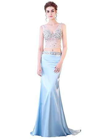 Mesh Top Prom Dress