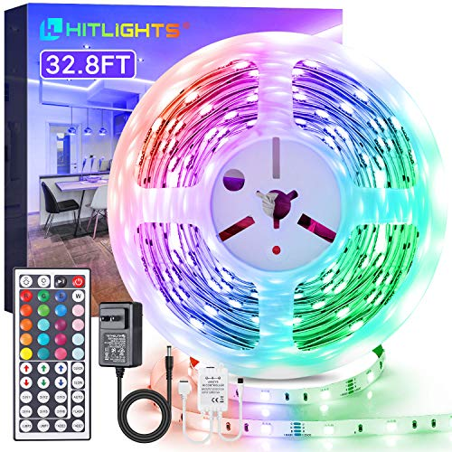 LED Strip Lights, HitLights 32.8ft RGB LED Light Strips Kit 5050 LED Tape Light, Color Changing LED Strip Lights with Wireless Remote and 12V UL Adapter for TV Gaming Room Bedroom Home Tiktok Decor