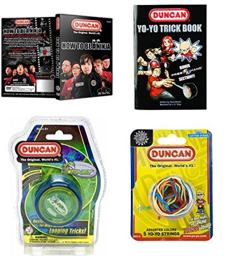 Duncan Intermediate YoYo Kit (4 Items) - Blue Hornet Yo-Yo, Multi-Color Yo-Yo String 5 Pack, Yo-Yo Trick Book, and How to Be A Yo-Yo Ninja DVD