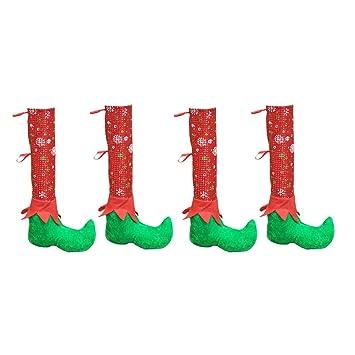 SUPVOX 4 unids Mesa de Navidad Y Silla Pierna Cubre Elf Elfos Pies Zapatos Piernas Decoraciones del Partido Favorece la Novedad Cena de Navidad Decoración ...