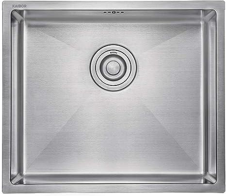 Vasca Singola Moderno Lavello Da Cucina In Acciaio Inox Per Mobile Base 60 Cm Lavello Quadrato 55 Cm X 45 Cm Per Montaggio A Parete O Ad Incasso Finitura Satinata Fai Da Te