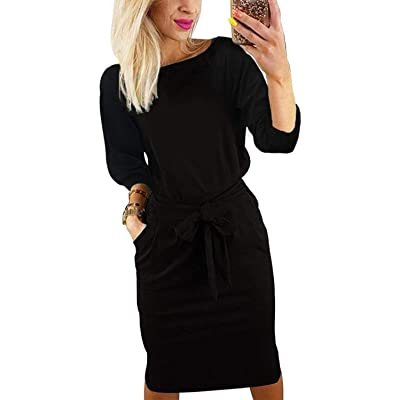 BB&KK Women's Pencil Dress with Pockets Belt Long Sleeve Knee Length Business Casual at Women's Clothing store