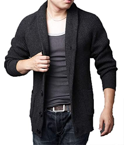 HHXWU Prendas de Punto Tops Abrigos Cardigans para Hombres Suéteres Tendencias Ocasionales, Gris Oscuro,