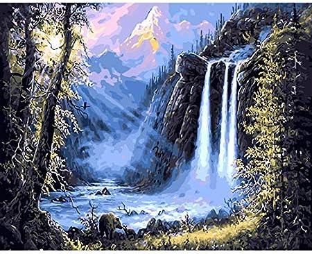 Okounoko Peinture Au Numero Montagne Cascade Paysage Peinture Diy