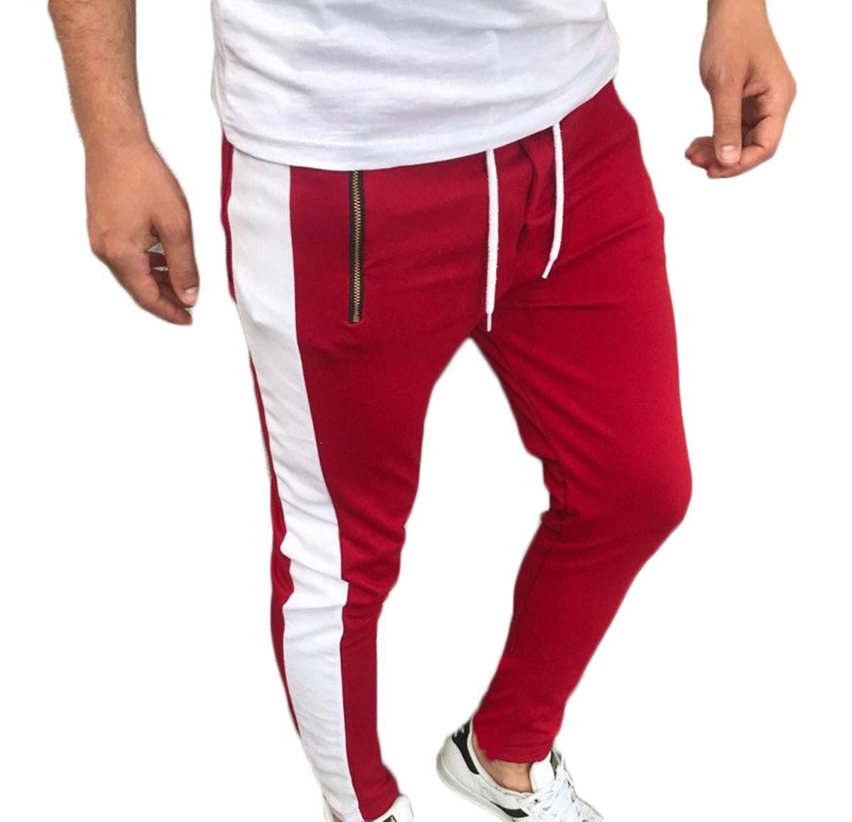 Yoawdats Men Casual Sweatpants Sport Slim Fit Long Trousers (Large, Red)