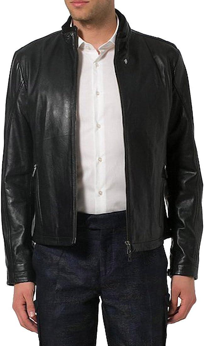 Kingdom Leather Mens Genuine Cow Leather Jacket Slim Fit Moto Biker Jacket XC367