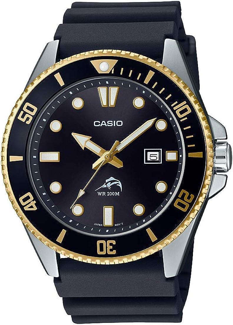 Casio Reloj casual de acero inoxidable inspirado en Diver para hombre, correa de resina de cuarzo, negro, 25.6 (Modelo: MDV-106G-1AVCF)