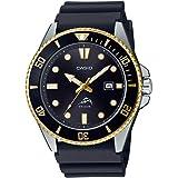 Casio Men's Diver Inspired Stainless Steel Quartz Resin Strap, Black, 25.6 Casual Watch (Model: MDV-106G-1AVCF)