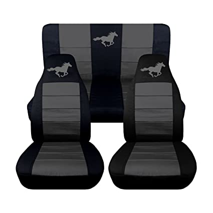 Brilliant 2005 2006 2007 Ford Mustang Front And Rear Runnng Horse Seat Covers 8 Color Options Convertible Black And Charcoal Beatyapartments Chair Design Images Beatyapartmentscom