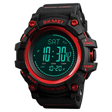 Amazon.com: Mens Sports Watches Hours Pedometer Calories Digital Watch Altimeter Barometer Compass Thermometer Weather Men Clock (red): Watches