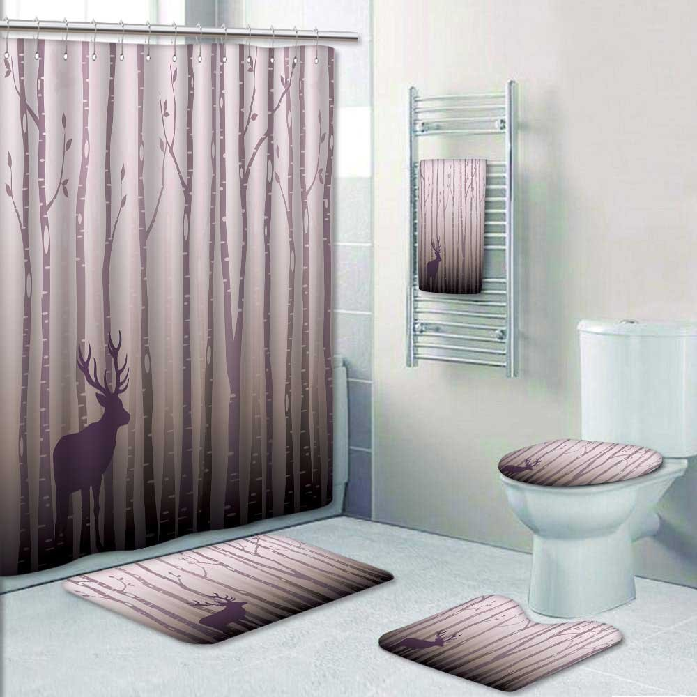 Nalahome 5-Piece Bathroom Set-Birch Grove Prints Decorate The Bathroom,1-Shower Curtain,3-Mats,1-Bath Towel(Small) YLTZ5-WQQ-418115M