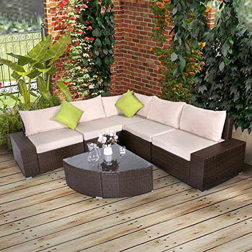 U-MAX Patio PE Rattan Wicker Sofa Set Outdoor Sectional Furniture Chair Set with Cushions and Tea Table (6 Pieces, Brown)