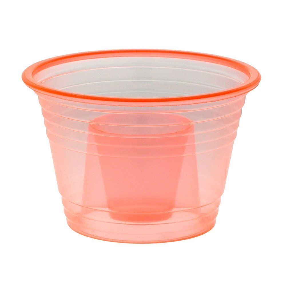 Zappy 50 Neon Orange Jager Bomb Cups Disposable Plastic Party Bomber Power Bomber Jager Bomb Cups Cool Double Shot Glass Glasses Shot Cup Cups Jager bomb glasses for mixed shots 50Ct Orange Jagerbombs by zappy (Image #2)