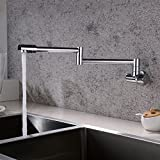 Pot Filler Kitchen Sink Faucet Wall Mount with Double Joint Swing Arm & 360 Degree Rotating Aerator 1/2 Inch IPS Male Threaded Easy Installation - Brass and Alloy Finish