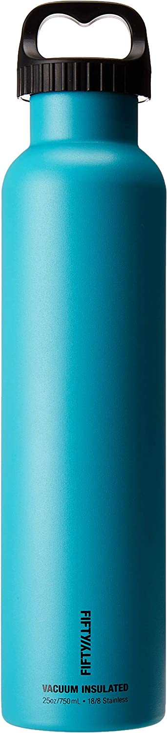FIFTY/FIFTY Double Wall Vacuum Insulated Water Bottle, Stainless Steel, Wide Mouth with Three Finger Cap