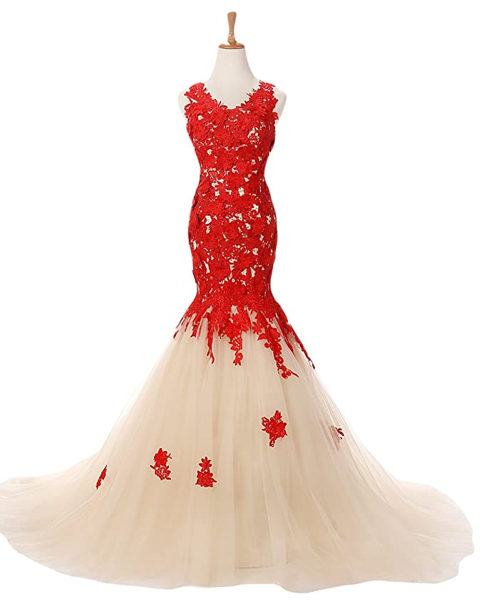 Amazon.com: Sunvary Red and Champagne Mermaid Lace Prom Pageant ...