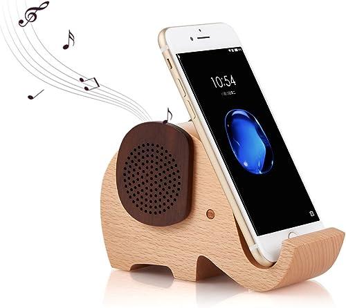 Artinova Wooden Portable Wireless Bluetooth Speaker with Cell Phone Stand Holder for Desktop Elephant Shape ARTA-0031