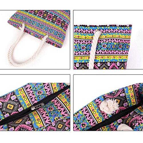 tela cremallera de Millya cierre mano Multicolor02 Bolso a hombro rayas playero para mujeres al de qpOW8Pp