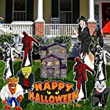 Halloween Yard Decorations Bundle - Haunted House, Life-size Witch, Frankenstein, Werewolf, Dracula, Zombies & Happy Halloween Sign - Flat 2D Corrugated Plastic - Brace for the Witch & Stakes Included