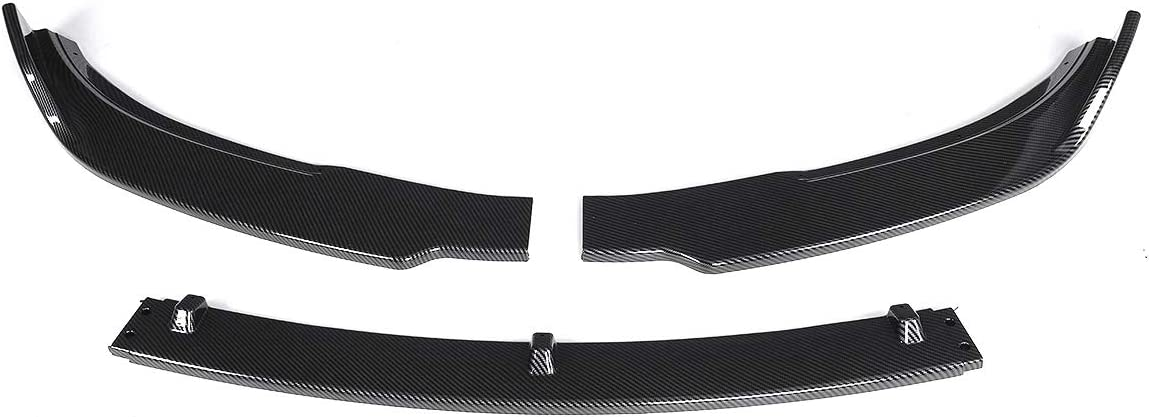 XMEIFEI Parts 3Piece Carbon Fiber Look//Black Car Front Bumper Splitter Lip Body Kit Spoiler Diffuser Guard for Tesla Model 3 Sedan 2016-2019 Color : Carbon Fiber Look