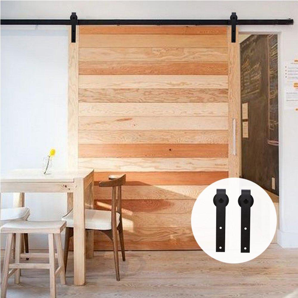 213cm Black J Shaped Hangers LWZH 7FT Sliding Wood Barn Door Steel Hardware Kit for Single Door Closet Track Set