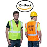 Brite Safety Style 100 Hi Vis Safety Vest, Reflective, Adjustable front and sides, One Size Fits Most, ANSI Class 2 Compliant (Pack of 10, Hi Vis Yellow)